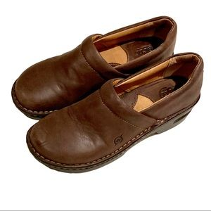 Born Brown Leather Clogs: Size 7.5